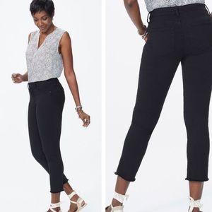 Nydj Sheri ankle slim fray hem black jeans